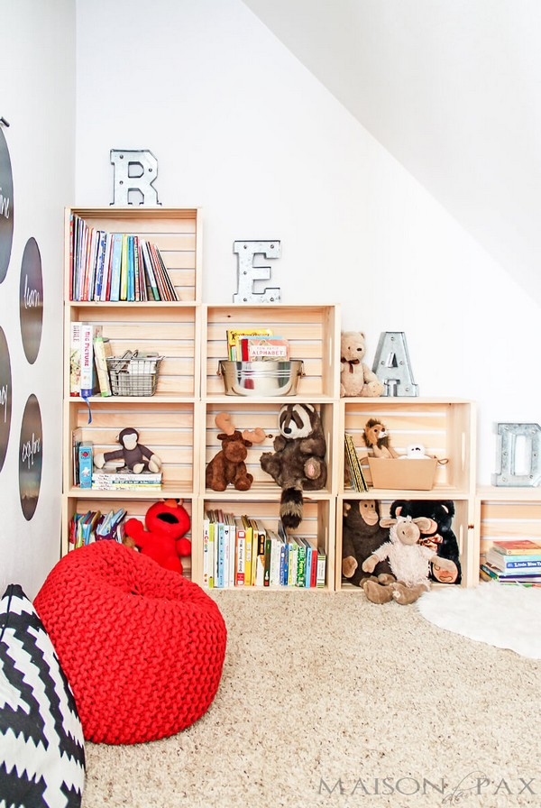 Easy DIY Playroom Stepped Crate Shelf For Toys