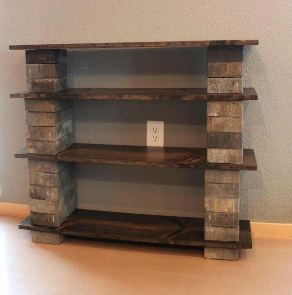 Amazing DIY Shelf With Bricks And Wood