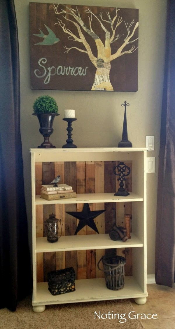 Recycled Pallet Bookshelf with Stained Back Detail
