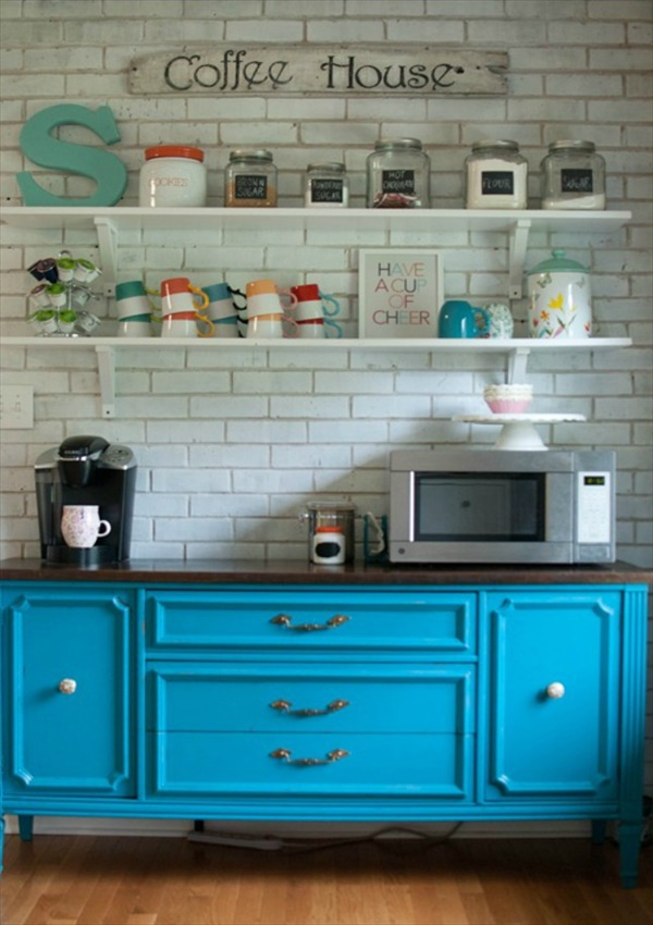 turquoise Beautiful And Amazing DIY Coffee Bar Ideas You Must Try