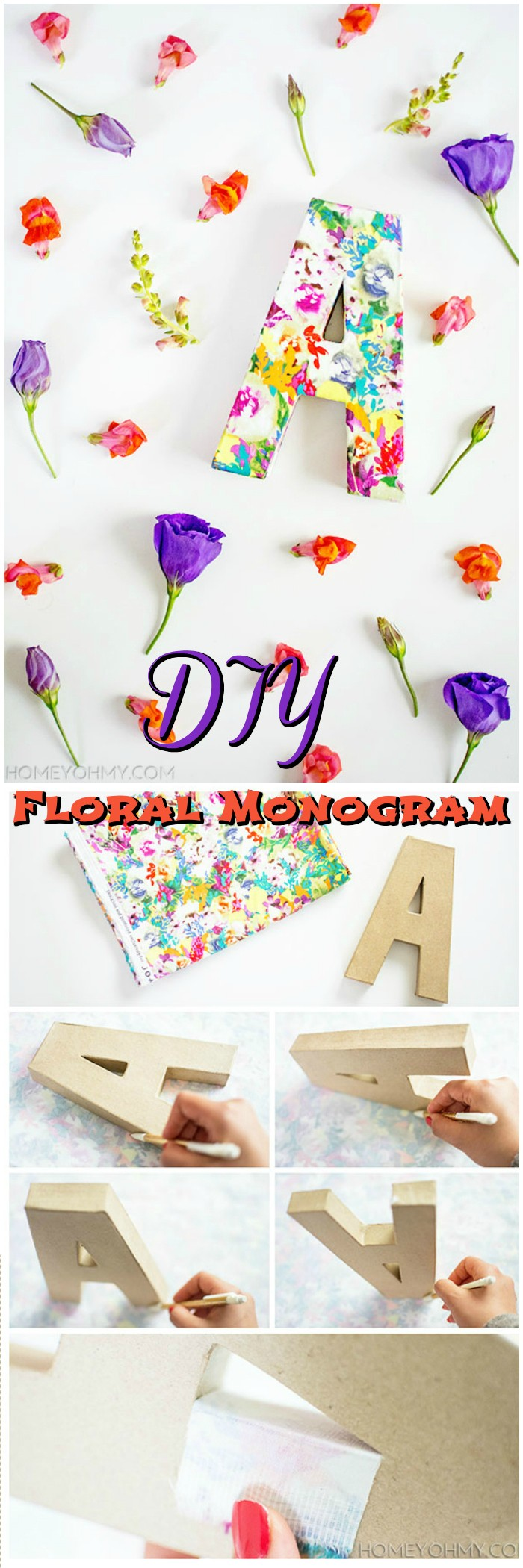 DIY Floral Monogram Dollar Store Home Organizing Ideas