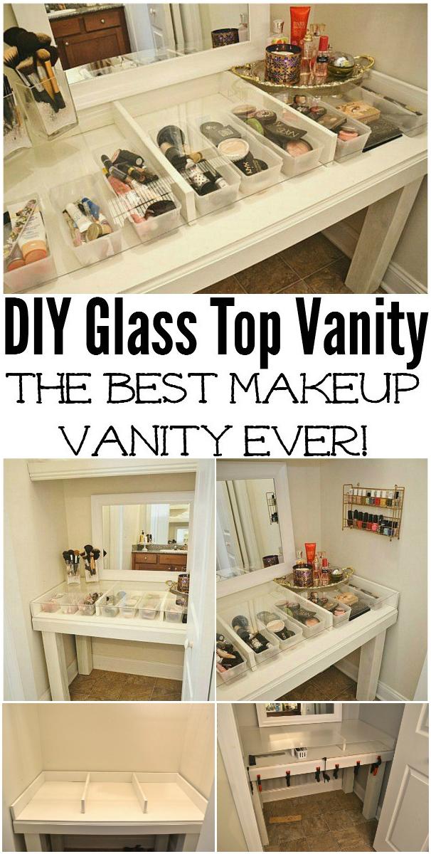 DIY Glass Top Makeup Vanity Desk Cheap DIY Makeup Vanity Table Ideas