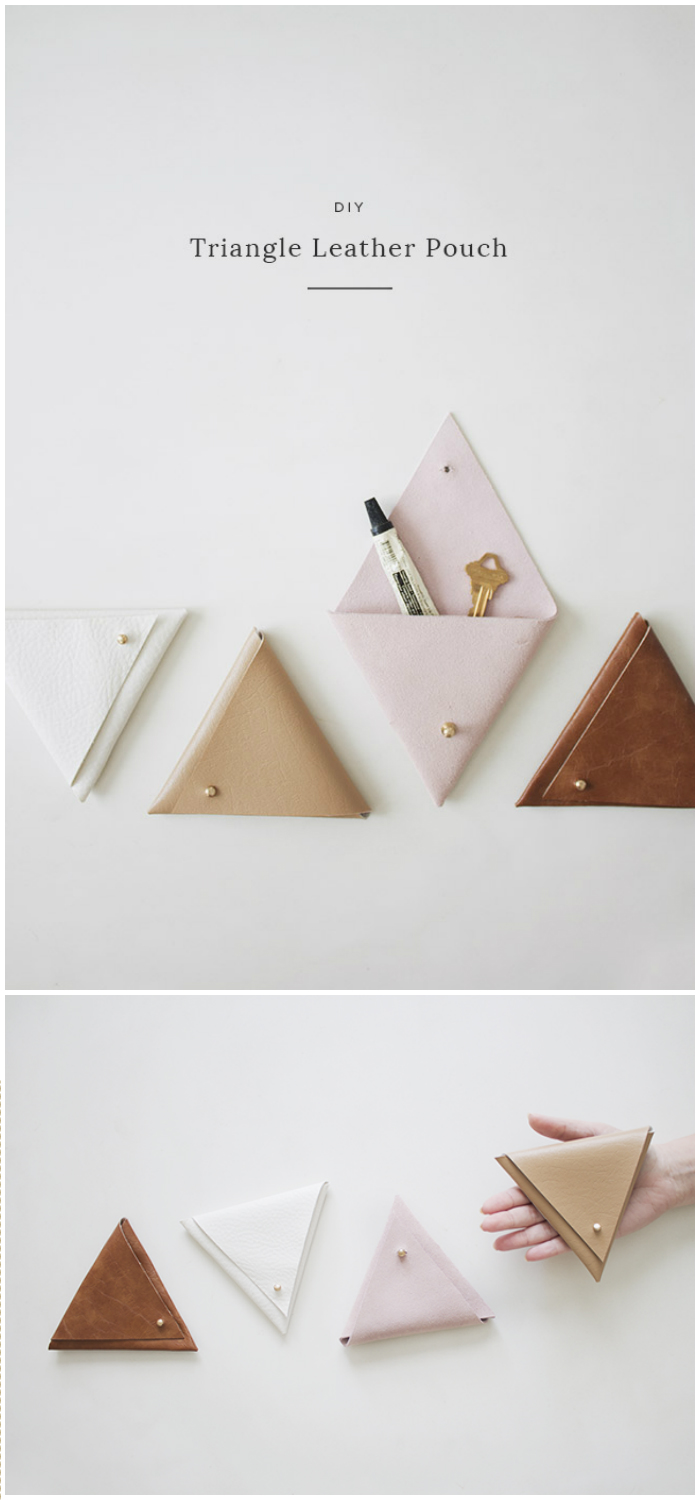 DIY Triangle Leather Pouch Dollar Store Home Organizing Ideas
