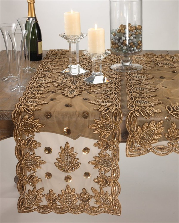 Golden lace table runner 1 Beautiful DIY Table Runner Ideas That Will Beatify Your Home
