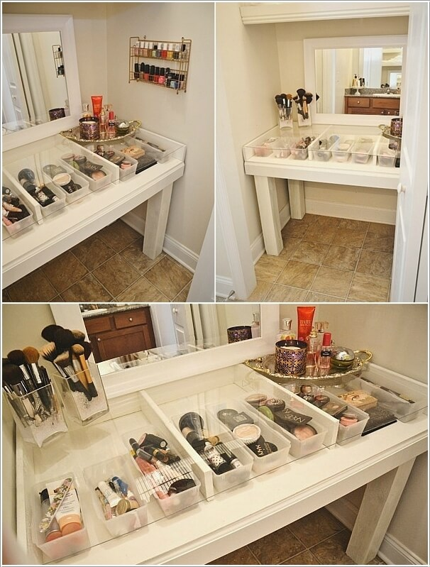 Make a Wood Table Glass Top Vanity with Storage Compartments Like These Incredible DIY Makeup Vanity Table Ideas That Will Grab Your Attention