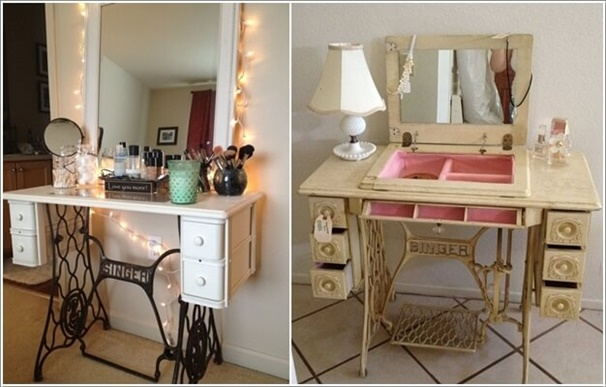 Recycle An Old Singer Machine Table And Give It A Makeover Cheap DIY Makeup  Vanity Table