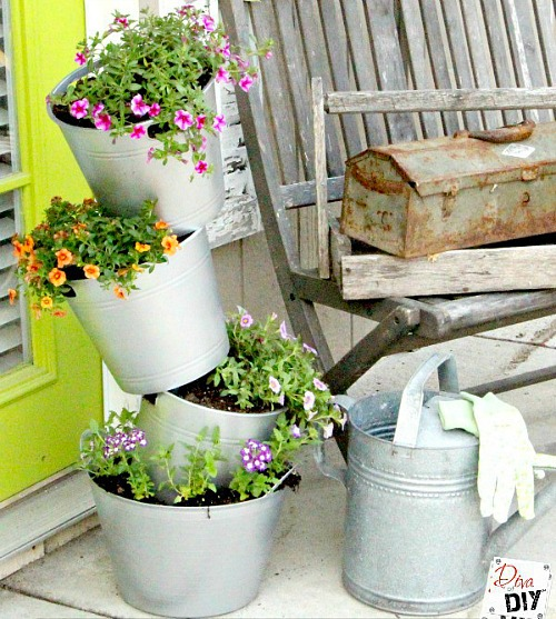 dollar store bucket planter Dollar Store Home Organizing Ideas
