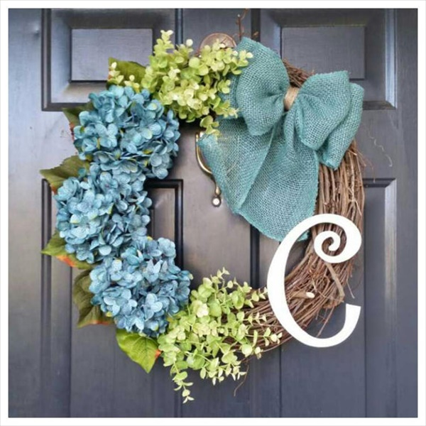eucalyptus hydrangea wreath Spring Wreath Ideas That Will Upgrade Your Front Door