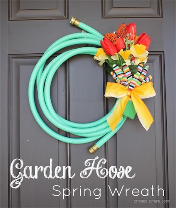 garden hose spring wreath Spring Wreath Ideas That Will Upgrade Your Front Door