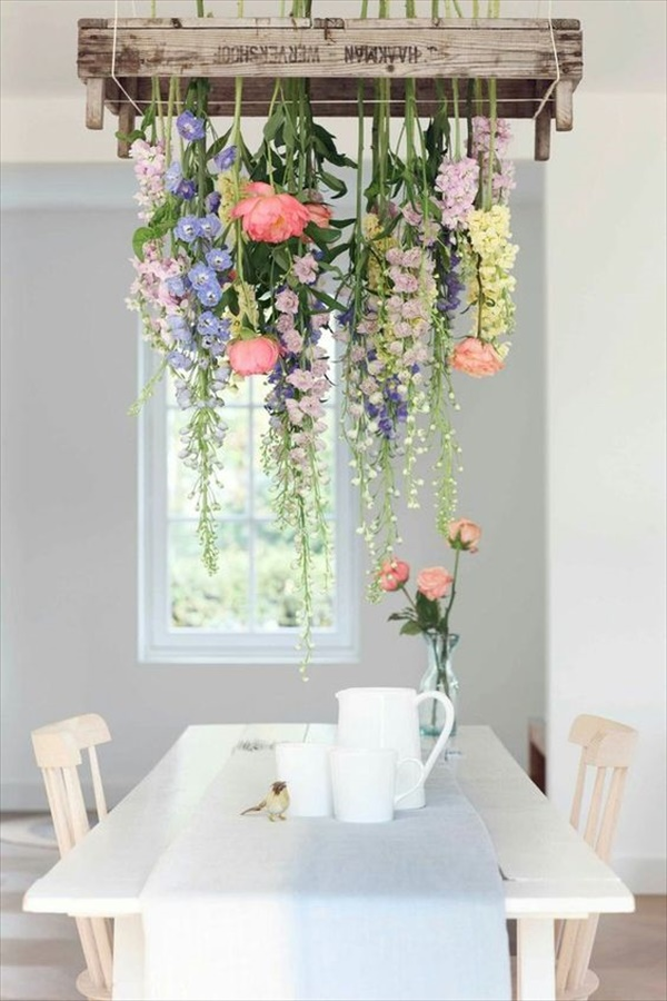 DIY flower spring chandelier