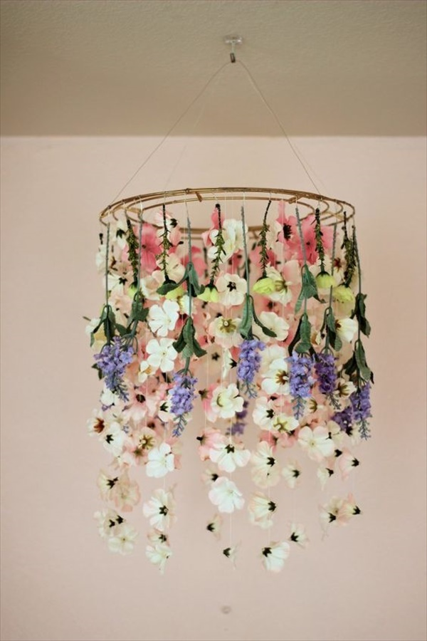 Beautiful and charming floral chandelier you will love to see diy diy floral chandelier to give a surprise to anyone aloadofball Image collections