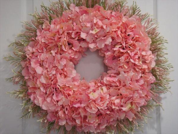 pink hydrangea spring wreath Spring Wreath Ideas That Will Upgrade Your Front Door