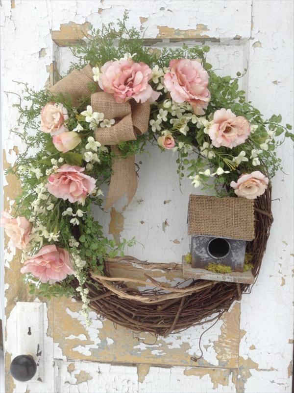 spring birdhouse wreath Spring Wreath Ideas That Will Upgrade Your Front Door
