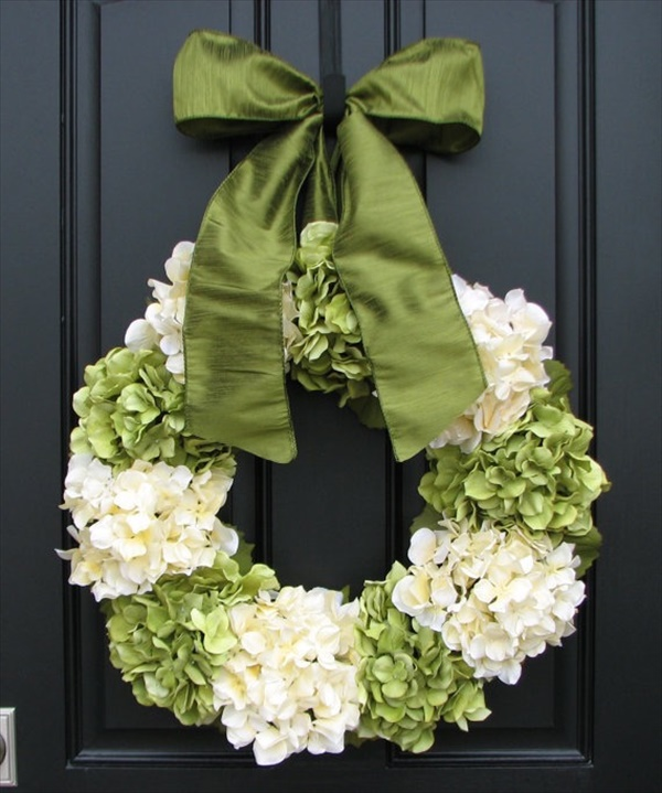 spring hydrangea wreath Spring Wreath Ideas That Will Upgrade Your Front Door