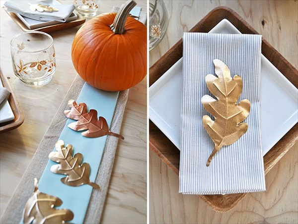 DIY fall leaves table runners