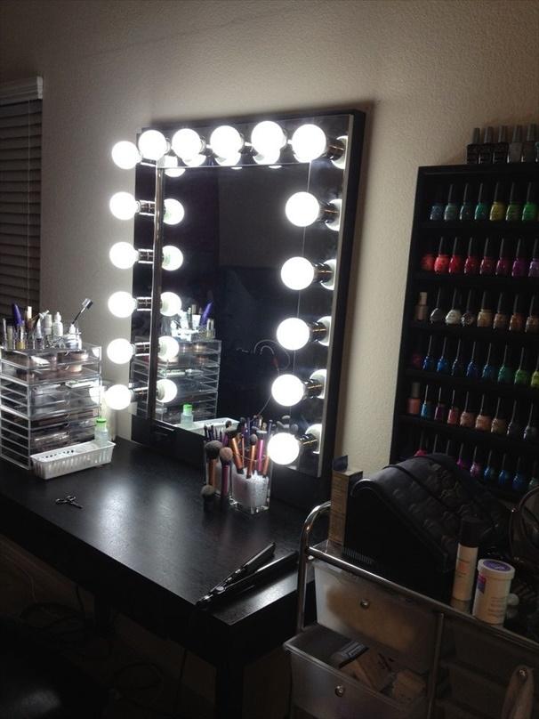vanity mirror with lights  Cheap DIY Makeup Vanity Table Ideas