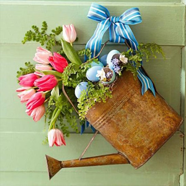 watering can wreath Spring Wreath Ideas That Will Upgrade Your Front Door