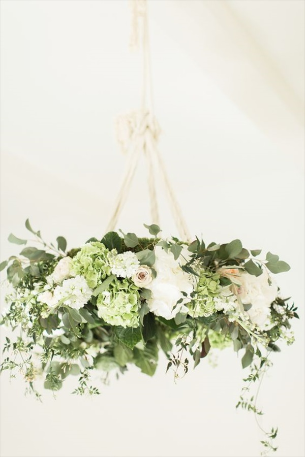 Green and off white floral chandelier