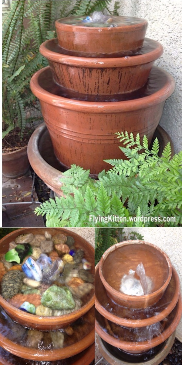 Babbling and Bubbling Brook in Tiered Pots DIY Water Feature Ideas To Make Your Home And Garden Lovely