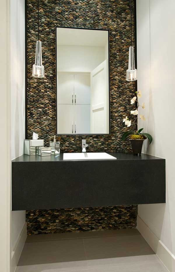 Give your powder room a stunning look with river rocks