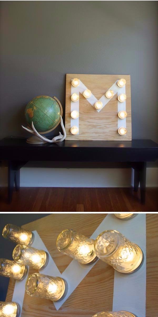 DIY Monogram Mason Jar lights idea