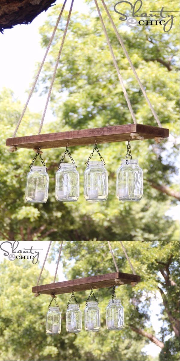 An outdoor mason jar chandelier