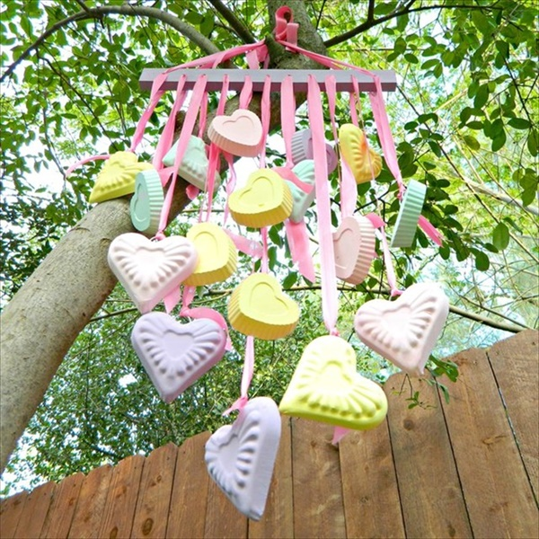 Make a homemade candy heart wind chimes