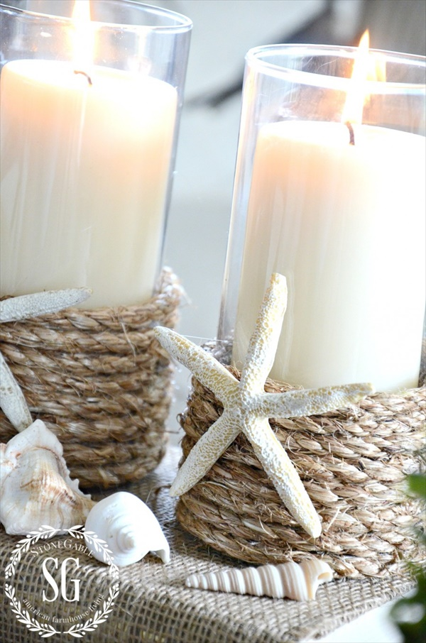 Beach inspired candle holders for summer decor