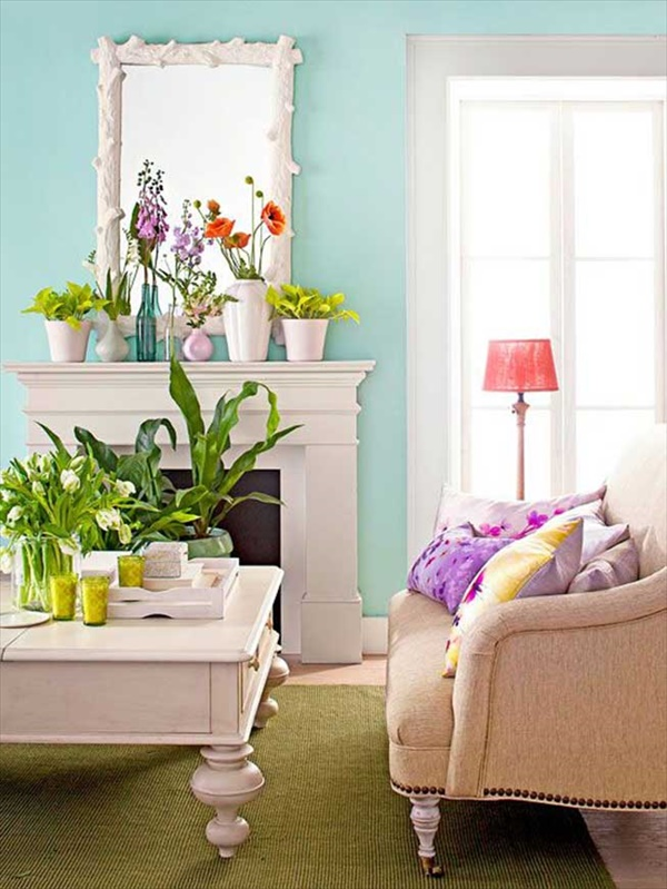 Beautiful and colorful living room for summer decorations