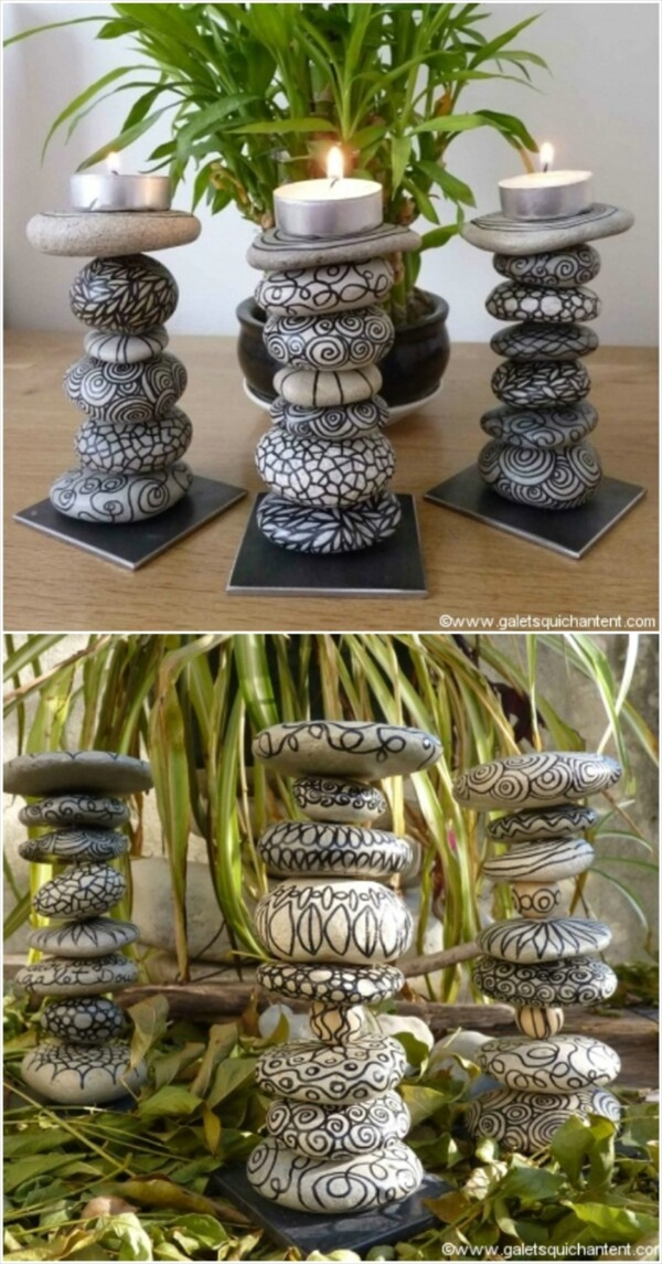 DIY candles made by designing rocks