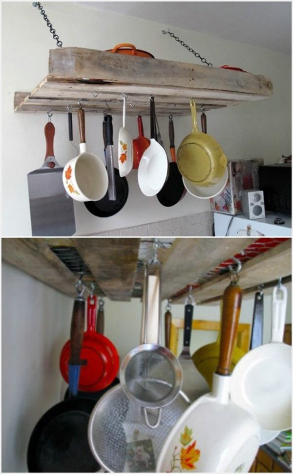 DIY Pallet Ideas To Make Your Kitchen Stunning Pallet Pot Rack To Improve Your Kitchen