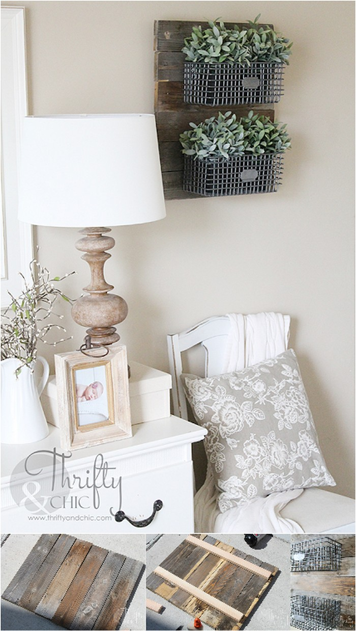 DIY Farmhouse Style Hanging Wire Baskets On Reclaimed Wood DIY Rustic Wall Decoration Ideas