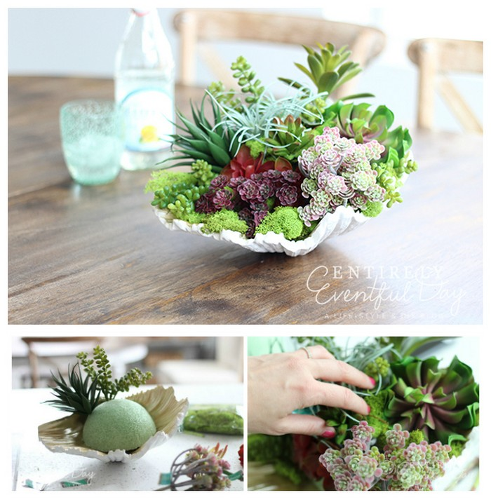DIY Faux Succulent Garden in Sea Shell Stunning and Creative DIY Seashell Crafts