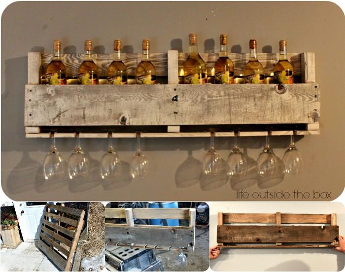 DIY Pallet Wine Rack 1 DIY Rustic Wall Decoration Ideas