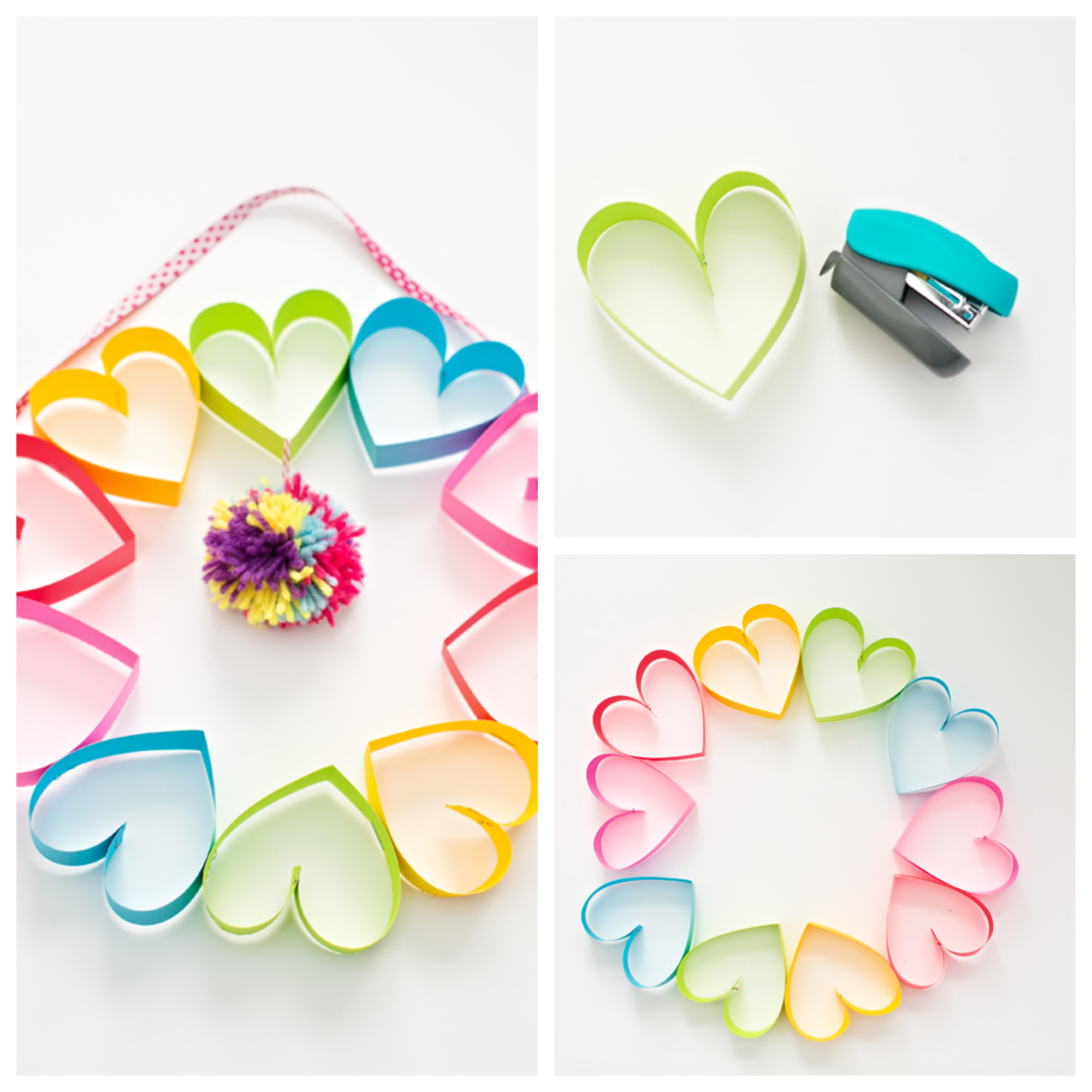 DIY RAINBOW PAPER HEART POM POM WREATH Kids Crafts Ideas That You Can Make Easily