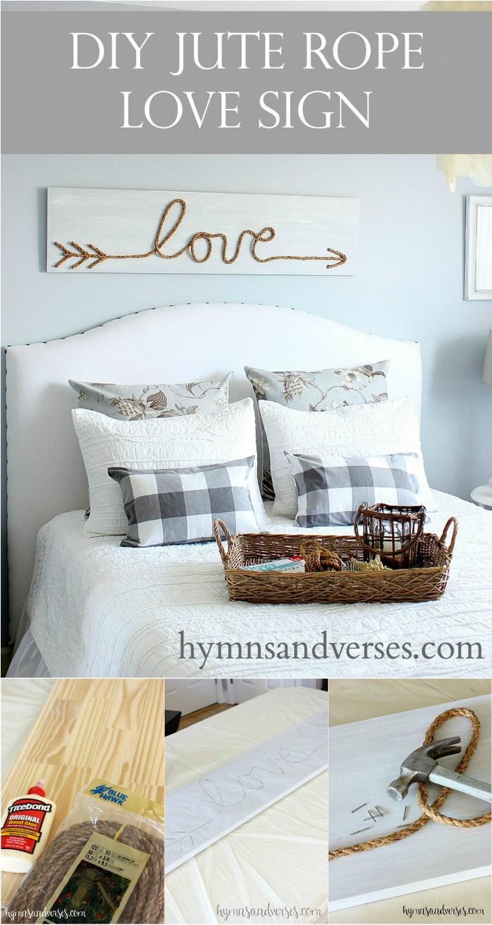 DIY Rope Love Sign DIY Rustic Wall Decoration Ideas