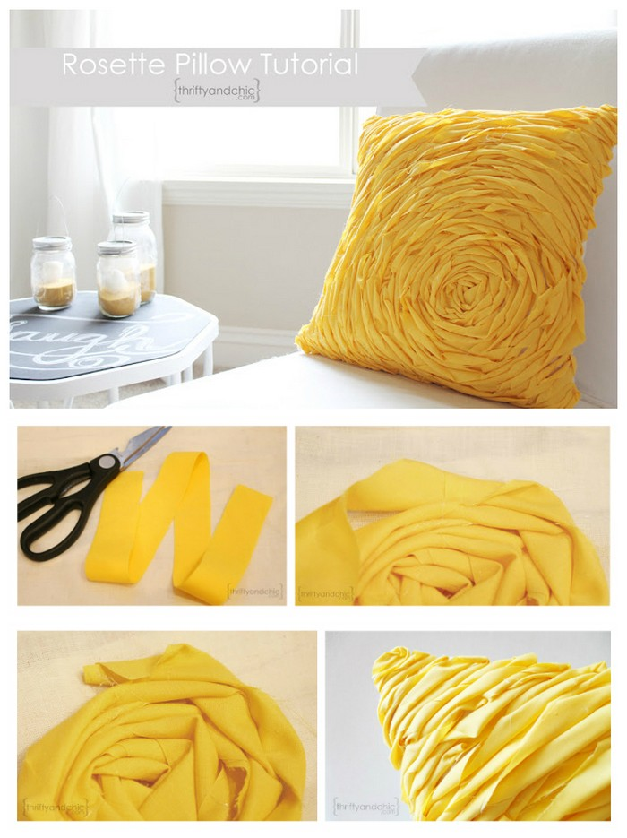 DIY Ruffle Rosette Pillow DIY Pillow Ideas That Will Change Room Look