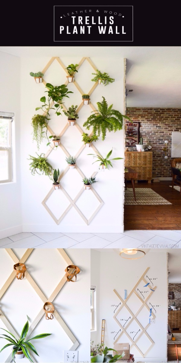DIY Home Decor Ideas That Will Brighten Up Your Space DIY Wood and Leather Trellis Plant Wall