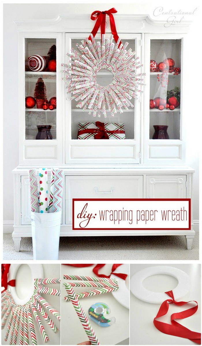 DIY Wrapping Paper Wreath Wrapping Paper Crafts For Home Decor