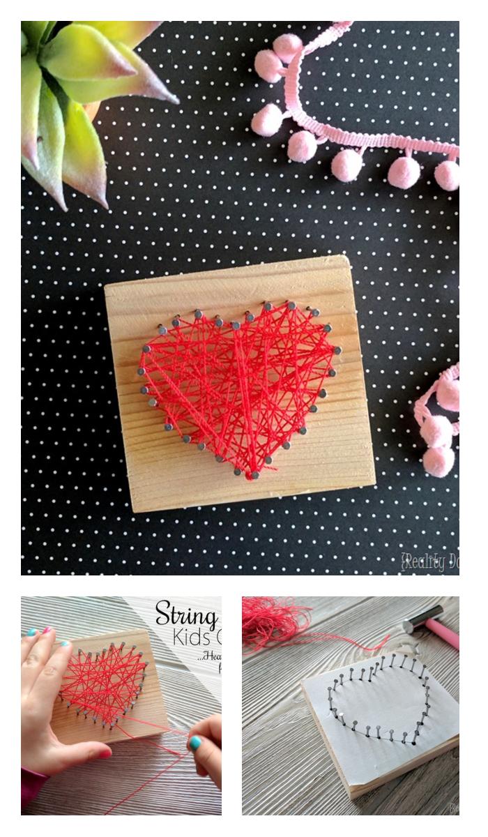 HEART SHAPED BEGINNER STRING ART KIDS CRAFT Kids Crafts Ideas That You Can Make Easily
