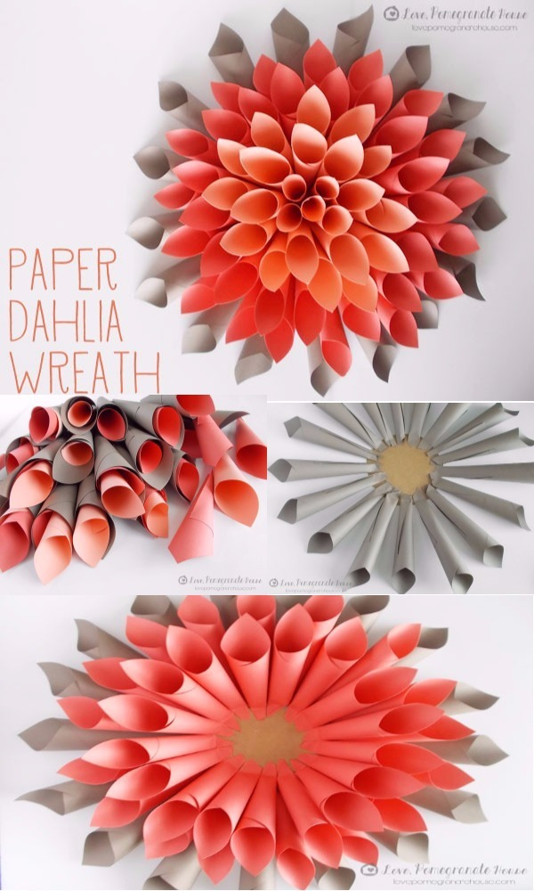 Diy paper flowers ideas that everyone can make easily diy home decor paper dahlia wreath diy paper flowers ideas that everyone can make easily mightylinksfo