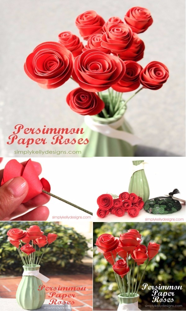 Persimmon inspired DIY paper flowers