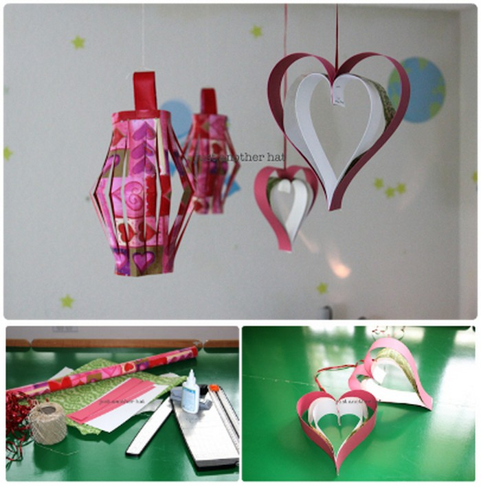 Valentine Hanging Lantern Heart Wrapping Paper Crafts For Home Decor