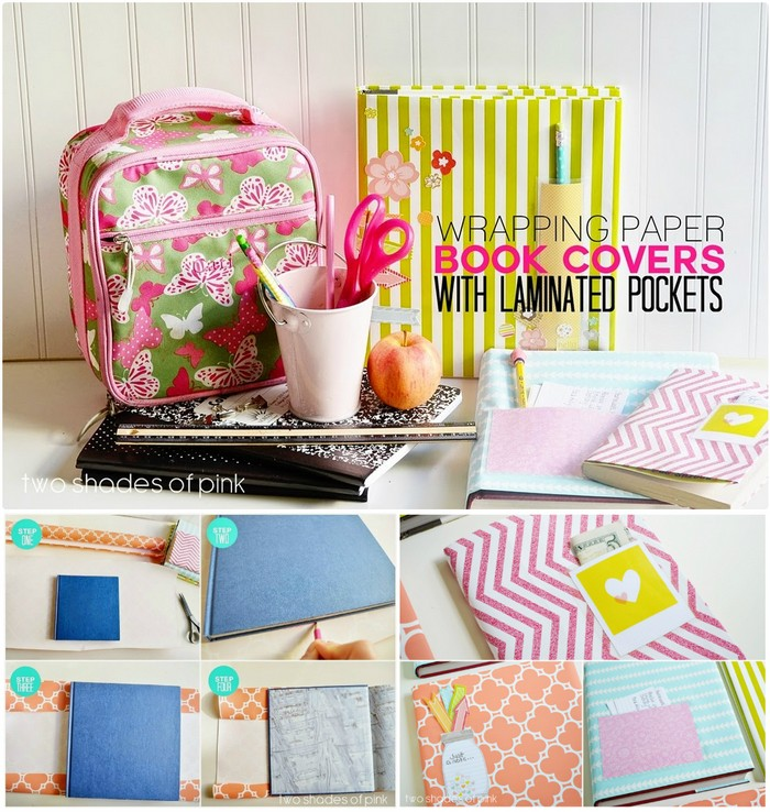 Book Cover Out Of Wrapping Paper : Wrapping paper crafts for home decor diy