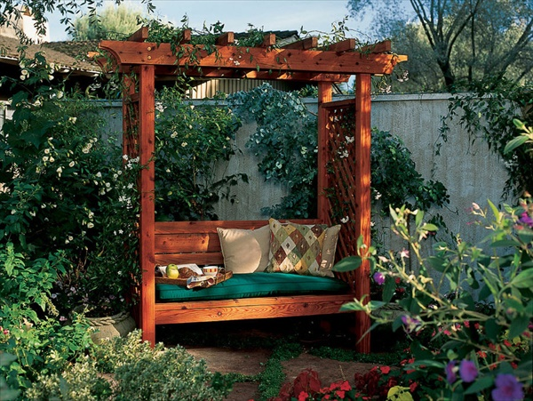 garden arbor bench 14 Amazing Small Backyard Ideas That Will Beautify Your Space