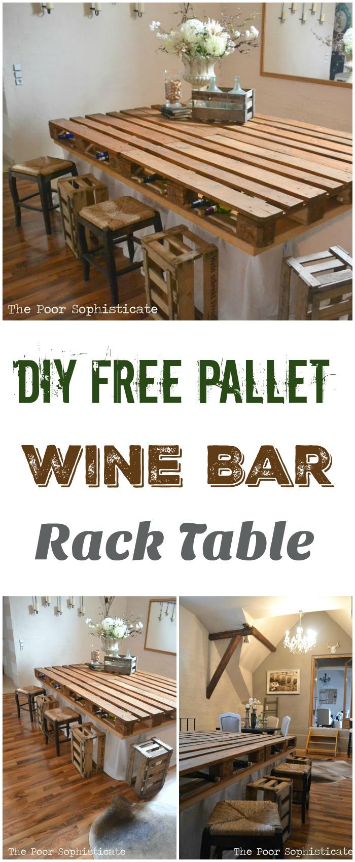 DIY Pallet Ideas To Make Your Kitchen Stunning DIY Free Pallet Wine Bar Rack Table