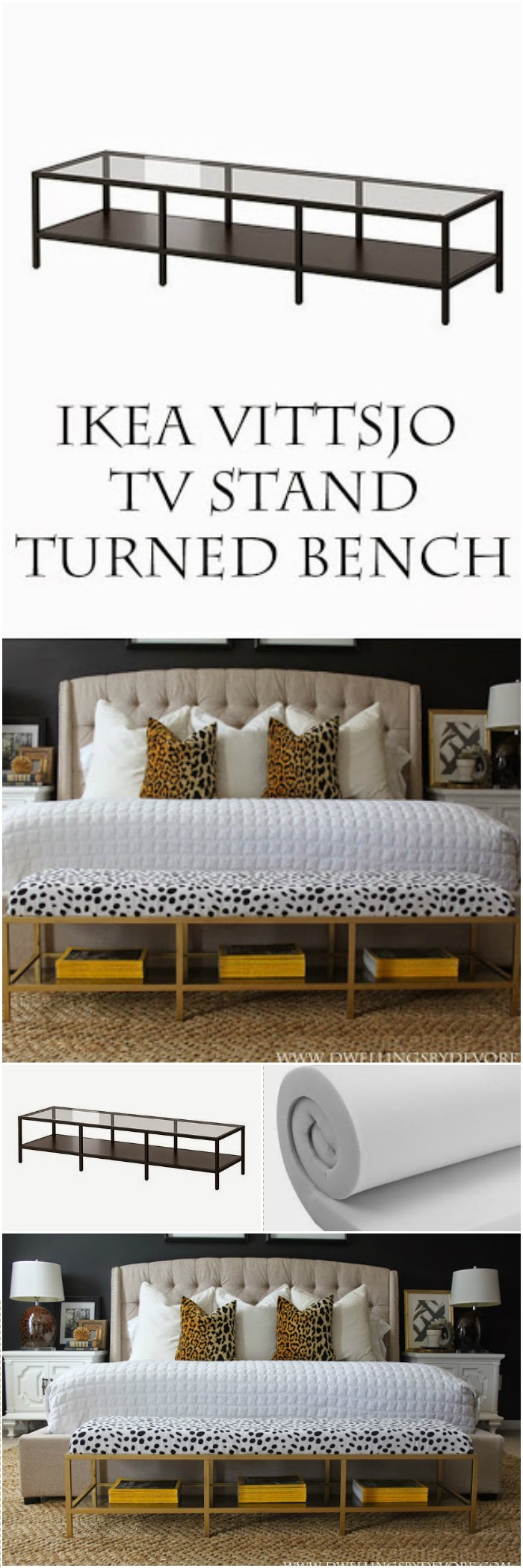 Gold Upholstered Bench Tutorial 1 IKEA Hacks For Your Home Decor