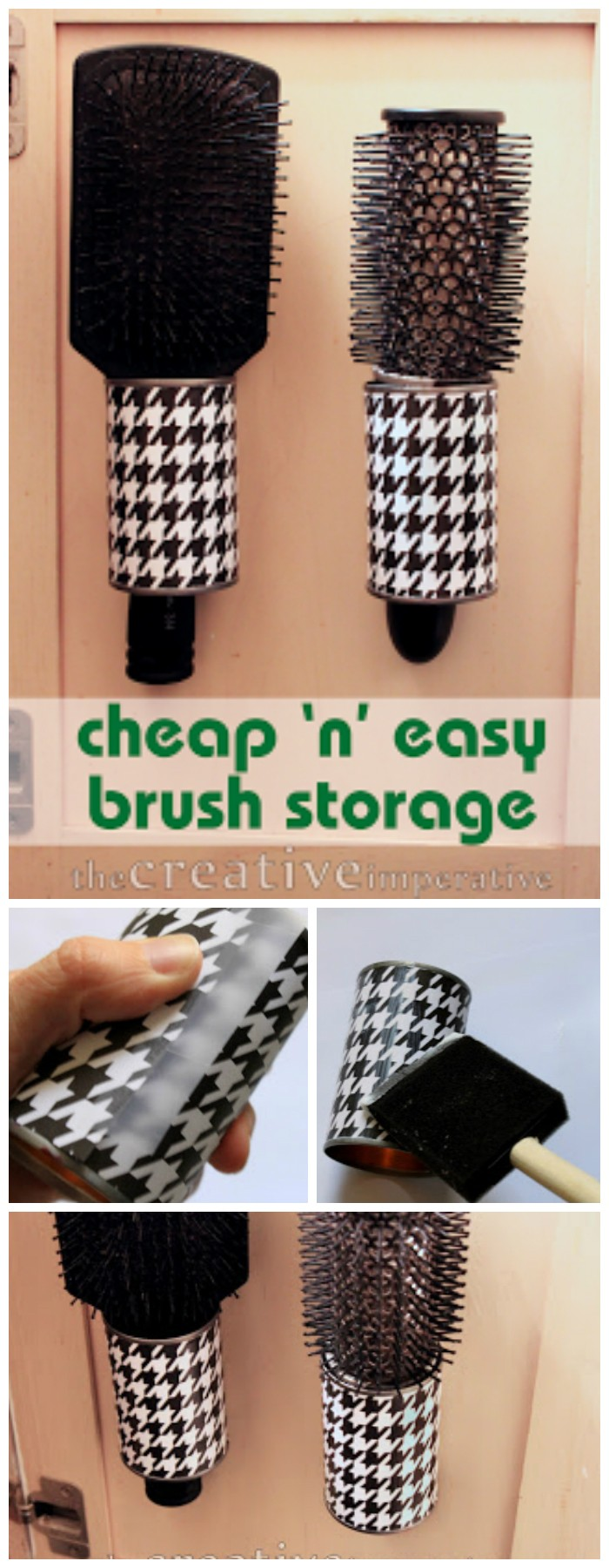 Hanging Hairbrush Storage From Tin Cans 15 0f The Best Tin Can Projects That You Must Try