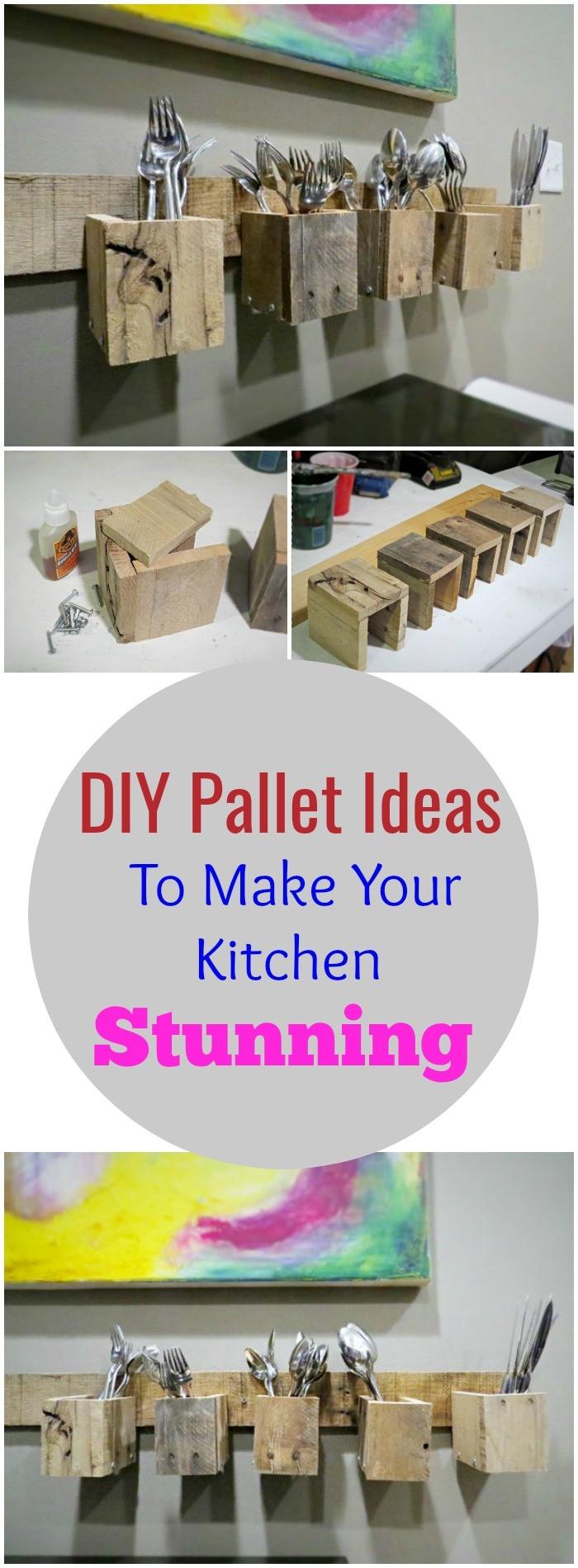 DIY Pallet Ideas To Make Your Kitchen Stunning DIY Pallet Wood Silverware Holder