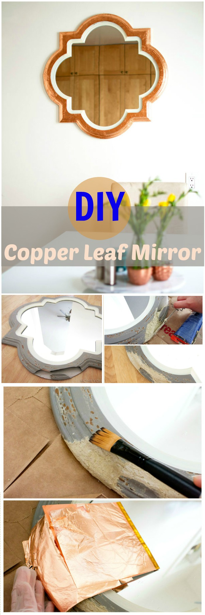 DIY Projects For The Home Decorations DIY Copper Leaf Mirror
